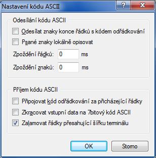 Nastavenie ASCII